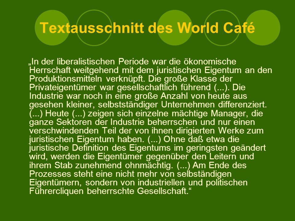 """Textausschnitt des World Café """"In der liberalistischen Periode war die ökonomische Herrschaft weitgehend mit dem juristischen Eigentum an den Produktionsmitteln verknüpft."""