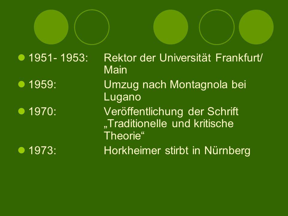 """1951- 1953:Rektor der Universität Frankfurt/ Main 1959:Umzug nach Montagnola bei Lugano 1970:Veröffentlichung der Schrift """"Traditionelle und kritische Theorie 1973:Horkheimer stirbt in Nürnberg"""