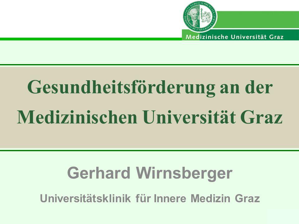 GW 2009 Gerhard Wirnsberger Universitätsklinik für Innere Medizin Graz Gesundheitsförderung an der Medizinischen Universität Graz