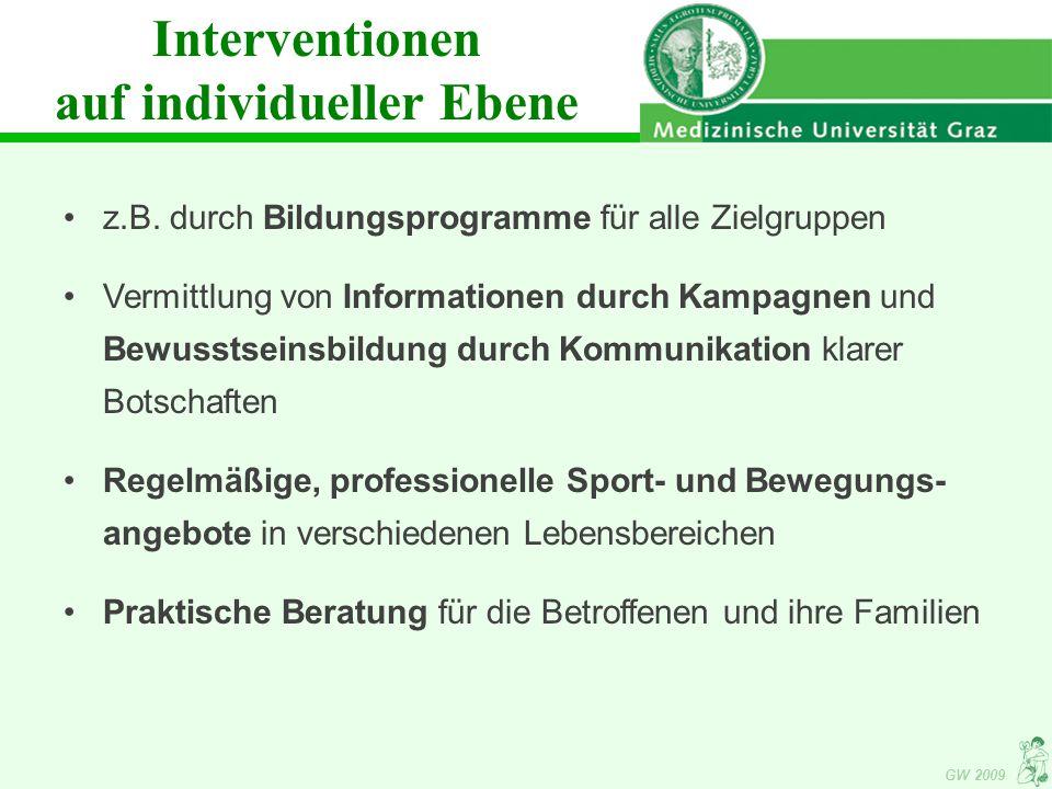 Interventionen auf individueller Ebene z.B.