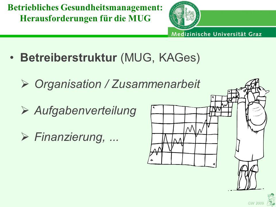 GW 2009 Betriebliches Gesundheitsmanagement: Herausforderungen für die MUG Betreiberstruktur (MUG, KAGes)  Organisation / Zusammenarbeit  Aufgabenverteilung  Finanzierung,...
