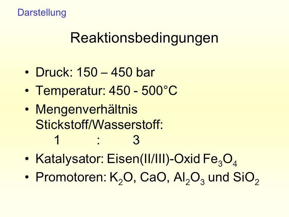 Reaktionsbedingungen Druck: 150 – 450 bar Temperatur: 450 - 500°C Mengenverhältnis Stickstoff/Wasserstoff: 1 : 3 Katalysator: Eisen(II/III)-Oxid Fe 3