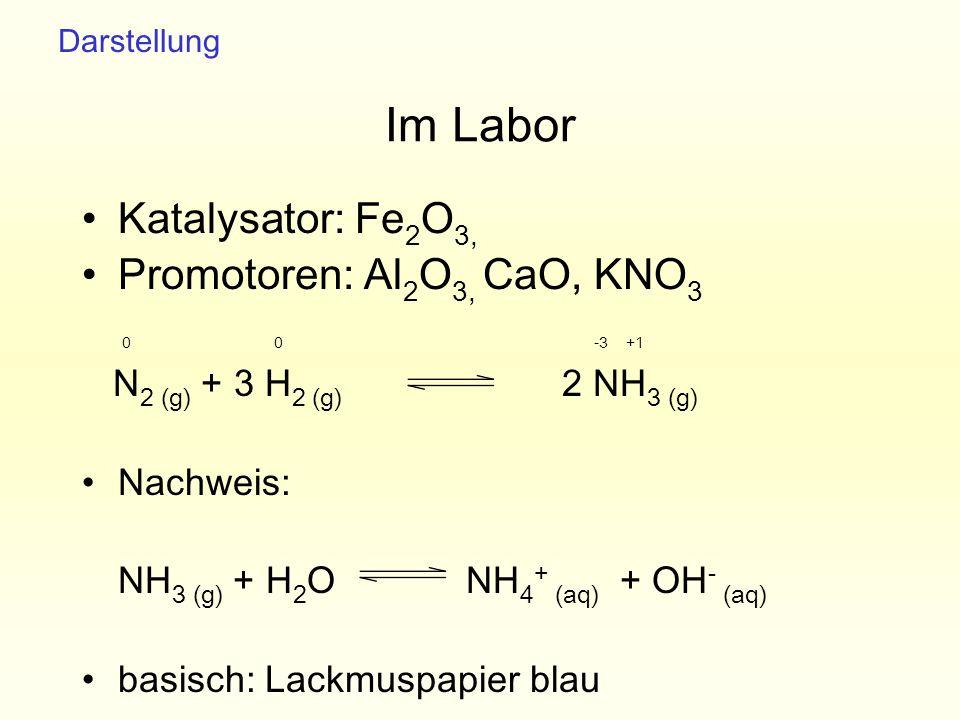 Im Labor Katalysator: Fe 2 O 3, Promotoren: Al 2 O 3, CaO, KNO 3 N 2 (g) + 3 H 2 (g) 2 NH 3 (g) Nachweis: NH 3 (g) + H 2 O NH 4 + (aq) + OH - (aq) bas