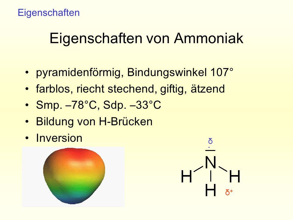 Eigenschaften von Ammoniak pyramidenförmig, Bindungswinkel 107° farblos, riecht stechend, giftig, ätzend Smp. –78°C, Sdp. –33°C Bildung von H-Brücken