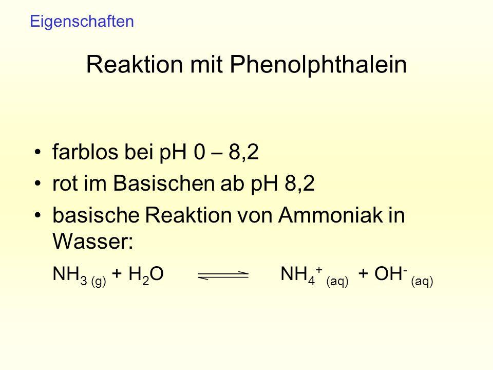 Reaktion mit Phenolphthalein farblos bei pH 0 – 8,2 rot im Basischen ab pH 8,2 basische Reaktion von Ammoniak in Wasser: NH 3 (g) + H 2 O NH 4 + (aq)