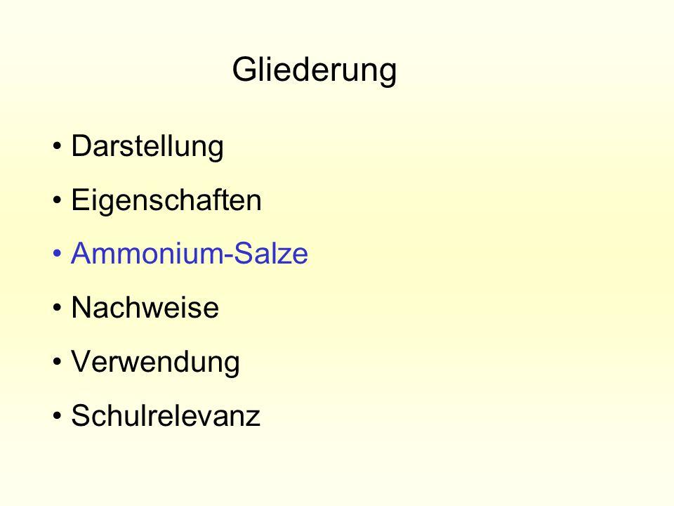 Darstellung Eigenschaften Ammonium-Salze Nachweise Verwendung Schulrelevanz Gliederung
