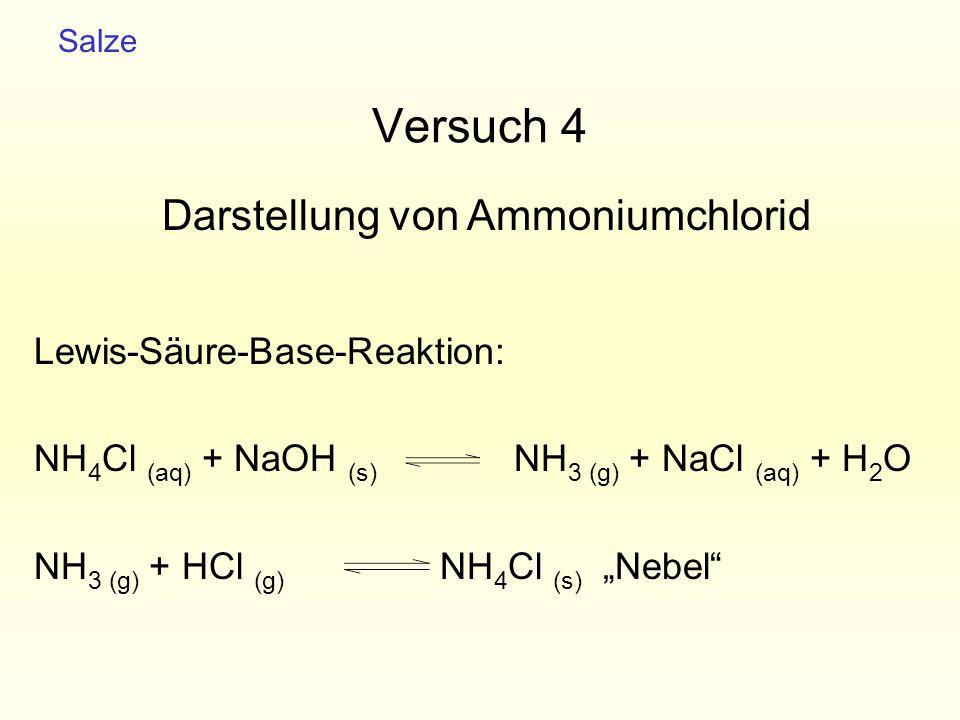 """Versuch 4 Lewis-Säure-Base-Reaktion: NH 4 Cl (aq) + NaOH (s) NH 3 (g) + NaCl (aq) + H 2 O NH 3 (g) + HCl (g) NH 4 Cl (s) """"Nebel"""" Salze Darstellung von"""