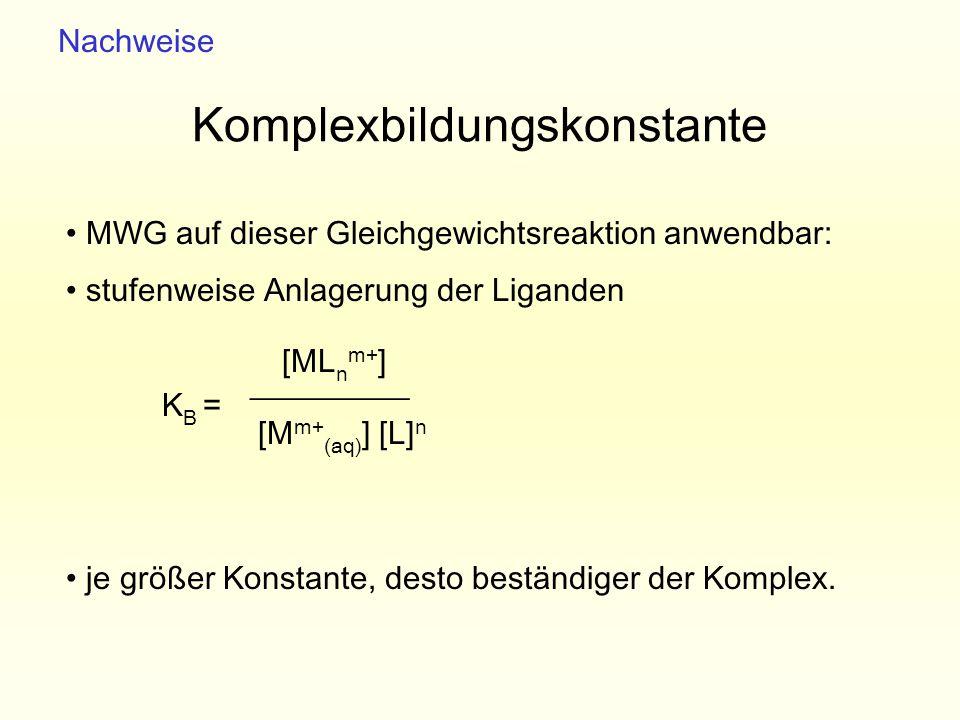 Komplexbildungskonstante MWG auf dieser Gleichgewichtsreaktion anwendbar: stufenweise Anlagerung der Liganden K B = je größer Konstante, desto beständ
