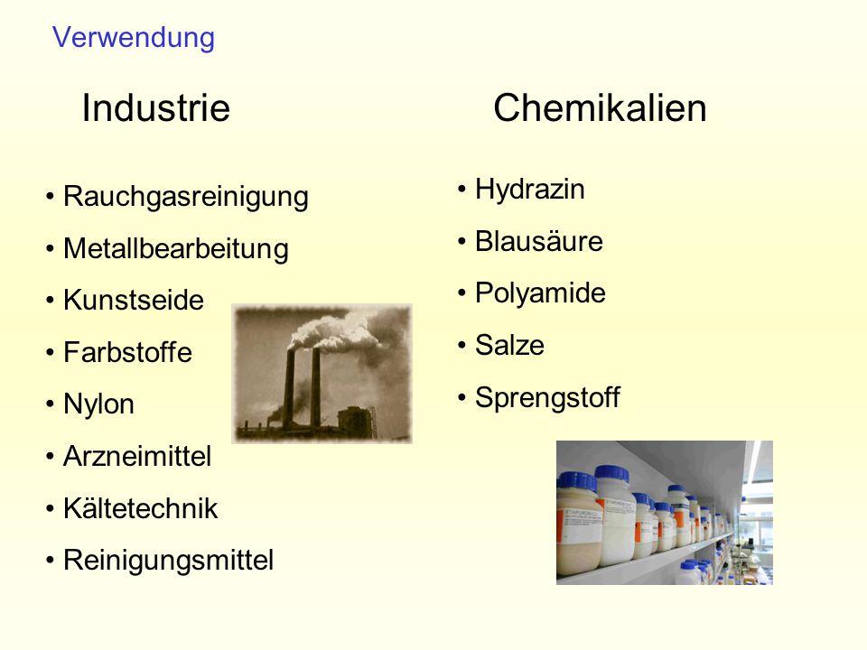 Hydrazin Blausäure Polyamide Salze Sprengstoff Rauchgasreinigung Metallbearbeitung Kunstseide Farbstoffe Nylon Arzneimittel Kältetechnik Reinigungsmit
