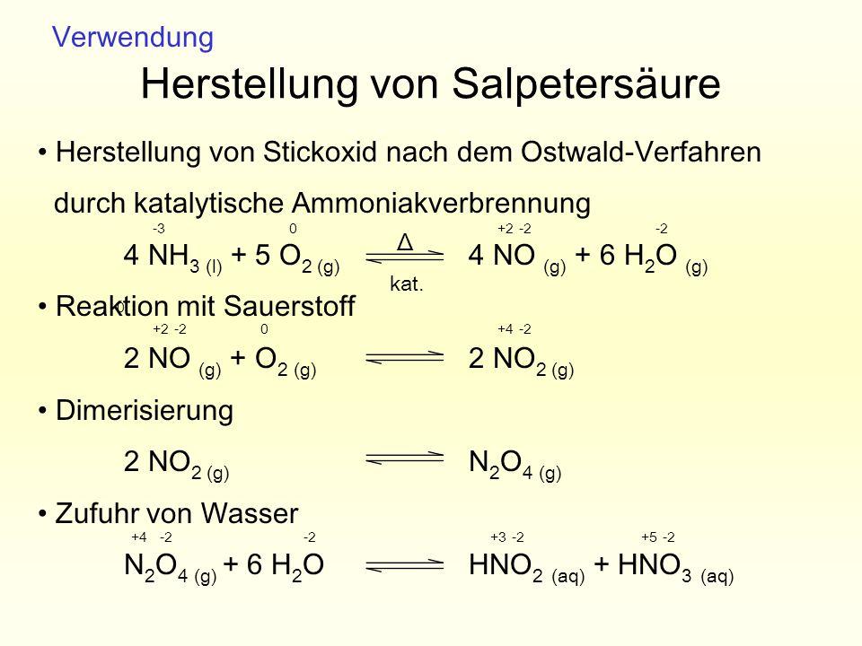 Herstellung von Salpetersäure Herstellung von Stickoxid nach dem Ostwald-Verfahren durch katalytische Ammoniakverbrennung 4 NH 3 (l) + 5 O 2 (g) 4 NO