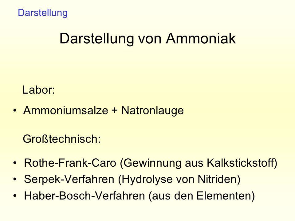 Darstellung von Ammoniak Rothe-Frank-Caro (Gewinnung aus Kalkstickstoff) Serpek-Verfahren (Hydrolyse von Nitriden) Haber-Bosch-Verfahren (aus den Elem