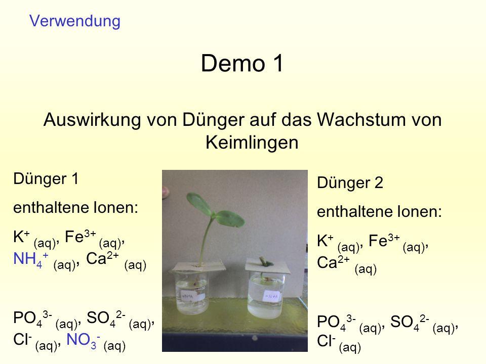 Demo 1 Auswirkung von Dünger auf das Wachstum von Keimlingen Verwendung Dünger 1 enthaltene Ionen: K + (aq), Fe 3+ (aq), NH 4 + (aq), Ca 2+ (aq) PO 4