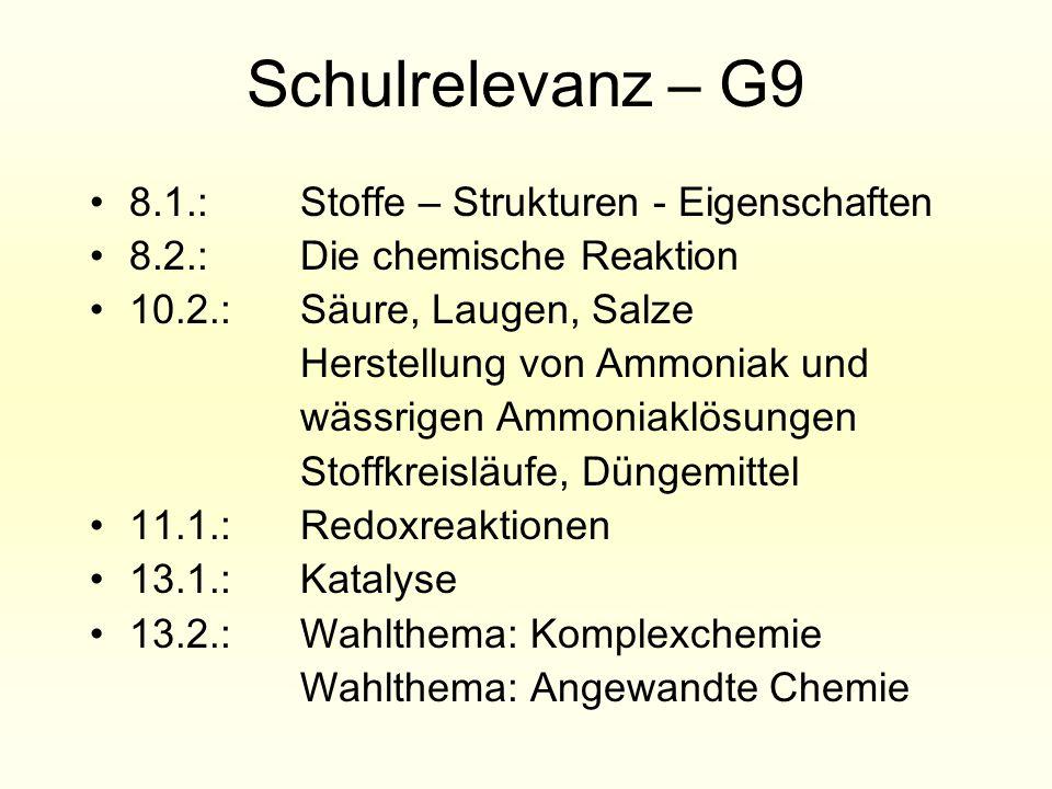 Schulrelevanz – G9 8.1.: Stoffe – Strukturen - Eigenschaften 8.2.: Die chemische Reaktion 10.2.: Säure, Laugen, Salze Herstellung von Ammoniak und wäs