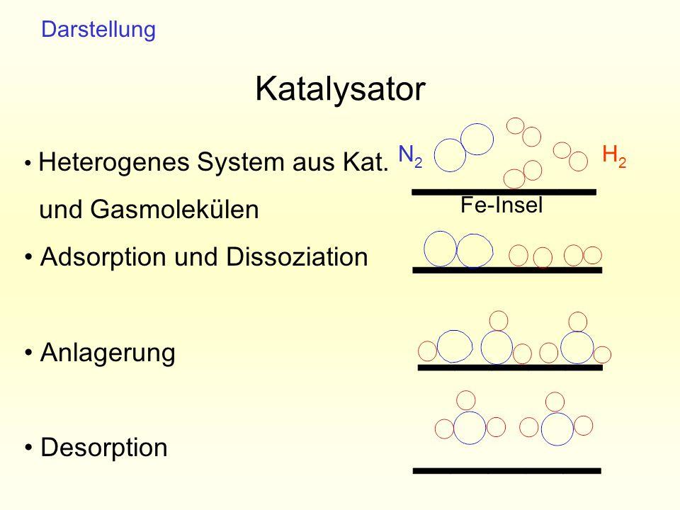 Katalysator Fe-Insel H2H2 N2N2 Heterogenes System aus Kat. und Gasmolekülen Adsorption und Dissoziation Anlagerung Desorption Darstellung