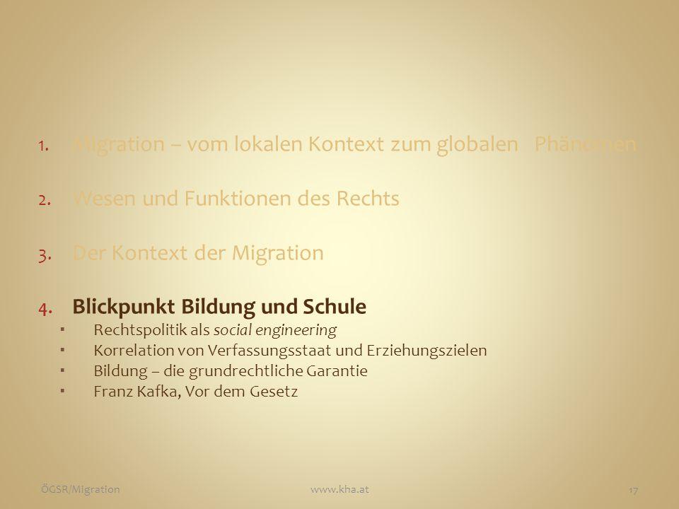 1. Migration – vom lokalen Kontext zum globalen Phänomen 2. Wesen und Funktionen des Rechts 3. Der Kontext der Migration 4. Blickpunkt Bildung und Sch