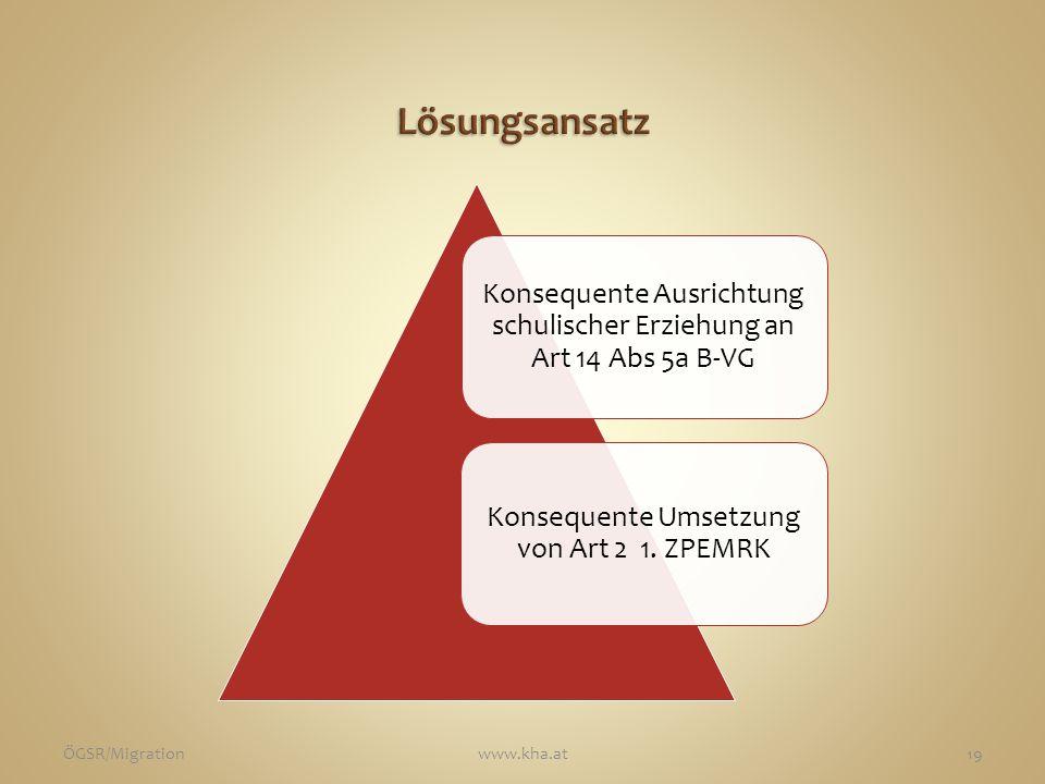 Konsequente Ausrichtung schulischer Erziehung an Art 14 Abs 5a B-VG Konsequente Umsetzung von Art 2 1. ZPEMRK ÖGSR/Migrationwww.kha.at19