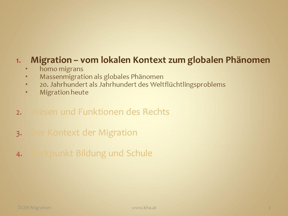 1. Migration – vom lokalen Kontext zum globalen Phänomen  homo migrans  Massenmigration als globales Phänomen  20. Jahrhundert als Jahrhundert des
