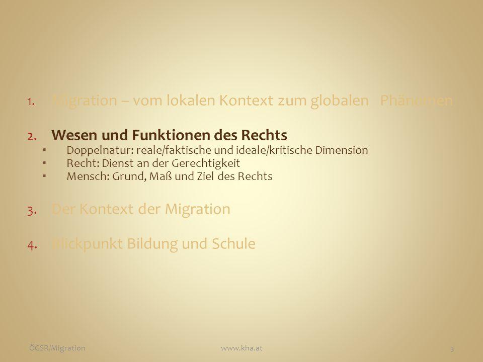 Recht Reale / faktische Dimension Soziale Wirklichkeit Ordnungsgemäße Gesetzt- heit der Rechtsnormen Ideale / kritische Dimension Moralische Richtigkeit ÖGSR/Migrationwww.kha.at4 Nach Robert Alexy in ARSP 95 (2009) 151-166.