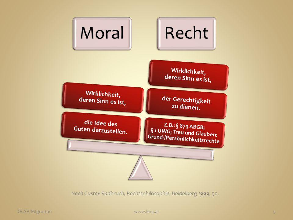 MoralRecht Z.B.: § 879 ABGB; § 1 UWG; Treu und Glauben; Grund-/Persönlichkeitsrechte der Gerechtigkeit zu dienen.