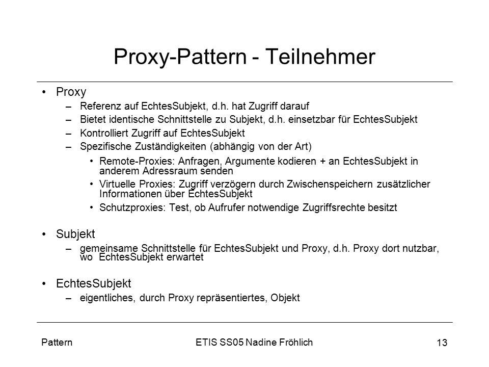 ETIS SS05 Nadine FröhlichPattern 13 Proxy-Pattern - Teilnehmer Proxy –Referenz auf EchtesSubjekt, d.h. hat Zugriff darauf –Bietet identische Schnittst