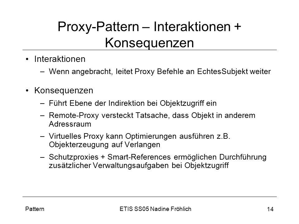 ETIS SS05 Nadine FröhlichPattern 14 Proxy-Pattern – Interaktionen + Konsequenzen Interaktionen –Wenn angebracht, leitet Proxy Befehle an EchtesSubjekt
