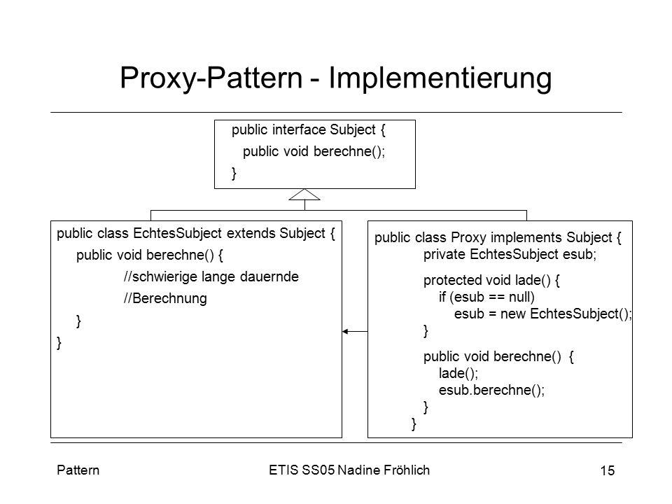 ETIS SS05 Nadine FröhlichPattern 15 Proxy-Pattern - Implementierung public class EchtesSubject extends Subject { public void berechne() { //schwierige
