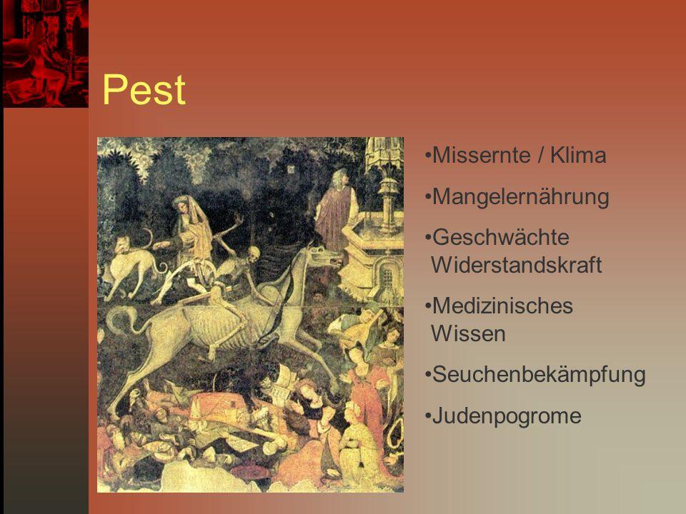 Pest Missernte / Klima Mangelernährung Geschwächte Widerstandskraft Medizinisches Wissen Seuchenbekämpfung Judenpogrome