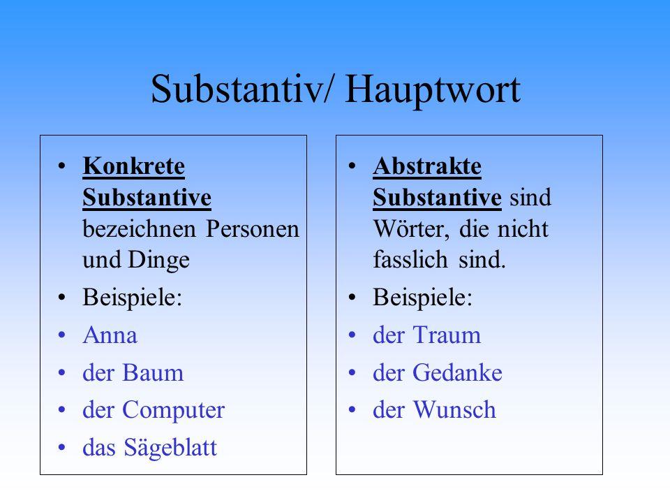Substantiv/ Hauptwort Konkrete Substantive bezeichnen Personen und Dinge Beispiele: Anna der Baum der Computer das Sägeblatt Abstrakte Substantive sin