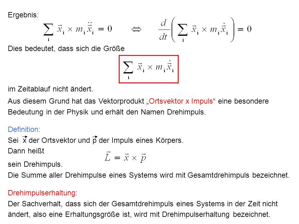 """Ergebnis: Aus diesem Grund hat das Vektorprodukt """"Ortsvektor x Impuls"""" eine besondere Bedeutung in der Physik und erhält den Namen Drehimpuls. Definit"""