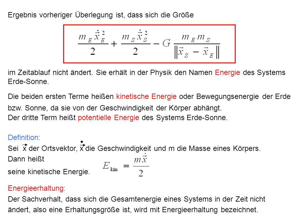 Definition: Sei x der Ortsvektor, x die Geschwindigkeit und m die Masse eines Körpers. Dann heißt seine kinetische Energie. Energieerhaltung: Der Sach