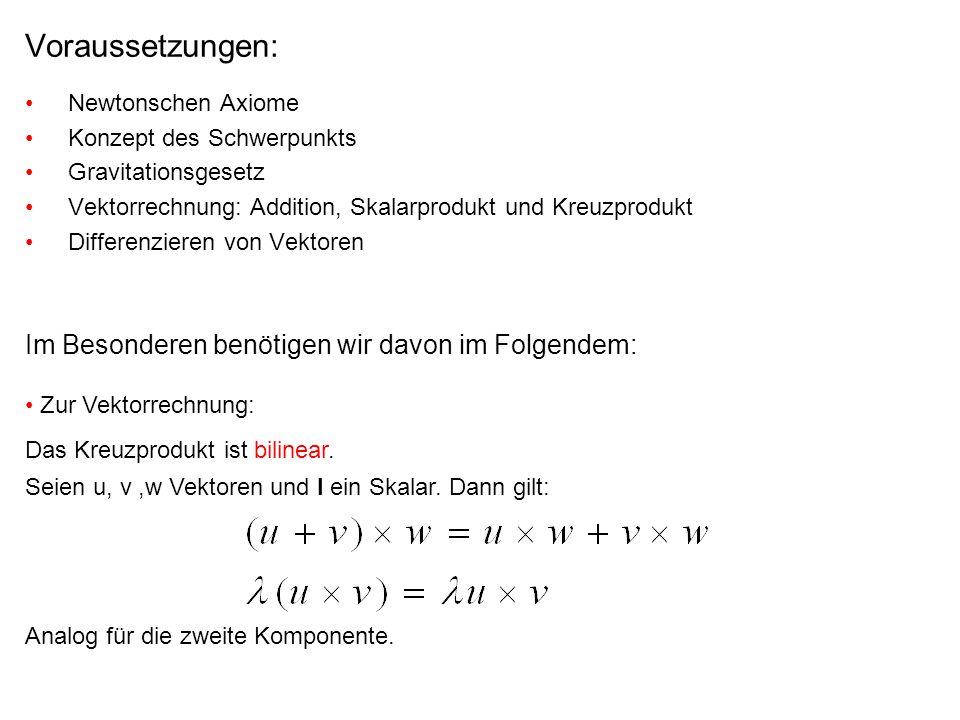 Voraussetzungen: Newtonschen Axiome Konzept des Schwerpunkts Gravitationsgesetz Vektorrechnung: Addition, Skalarprodukt und Kreuzprodukt Differenziere