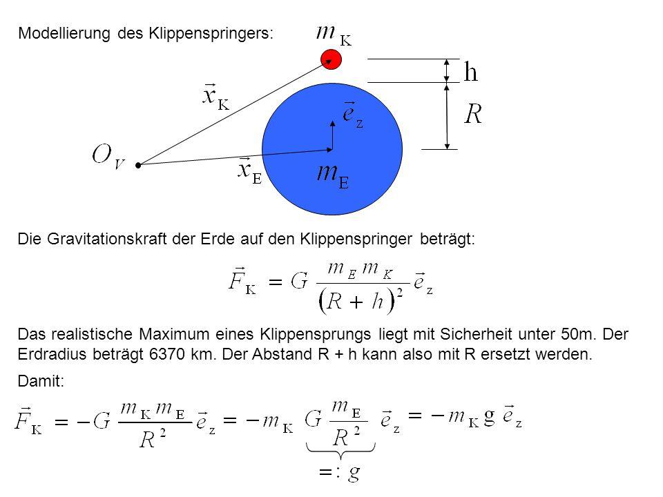 Modellierung des Klippenspringers: Die Gravitationskraft der Erde auf den Klippenspringer beträgt: Das realistische Maximum eines Klippensprungs liegt