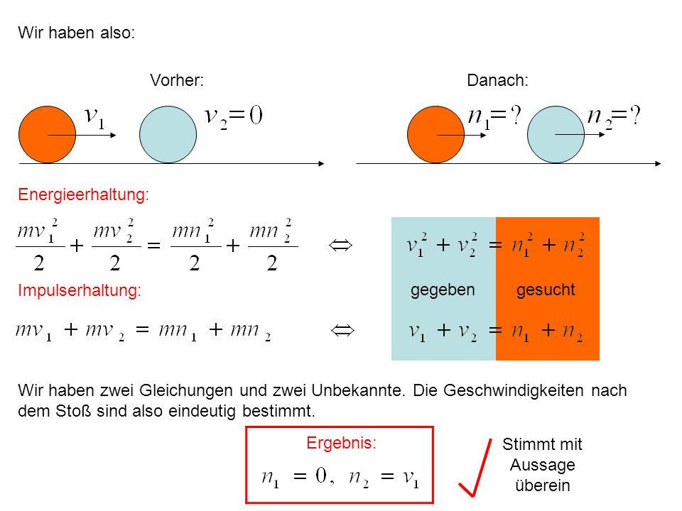 gesuchtgegeben Wir haben also: Vorher:Danach: Energieerhaltung: Impulserhaltung: Wir haben zwei Gleichungen und zwei Unbekannte. Die Geschwindigkeiten