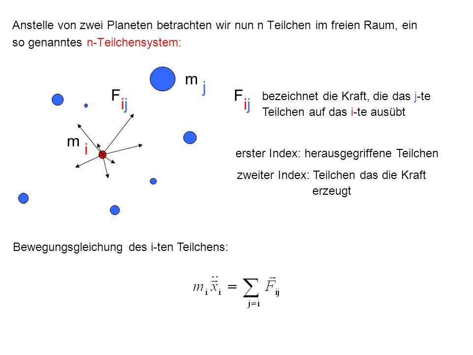 Anstelle von zwei Planeten betrachten wir nun n Teilchen im freien Raum, ein so genanntes n-Teilchensystem: bezeichnet die Kraft, die das j-te Teilche