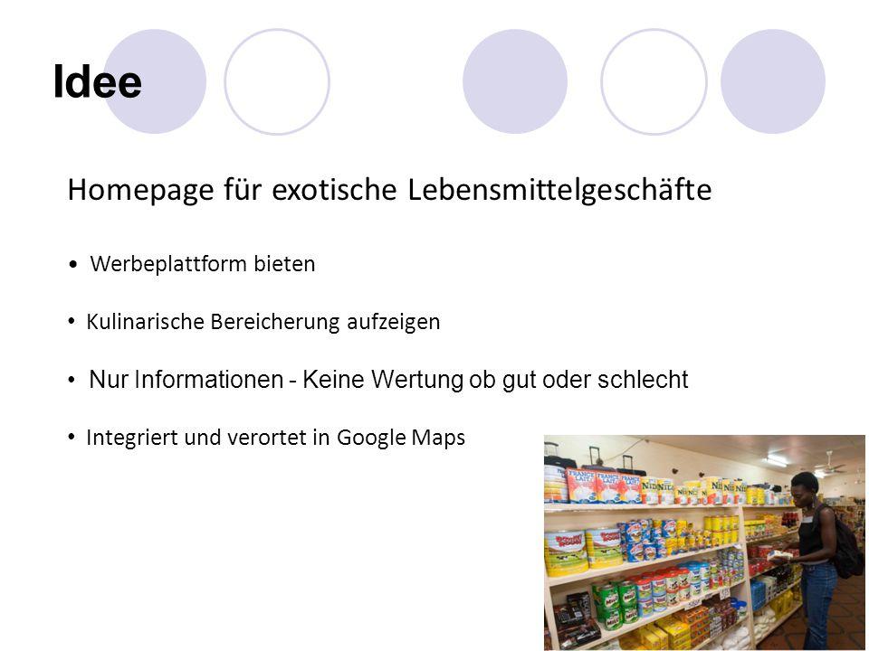 Abrufbare Informationen Produktübersicht mittels Panoramen (Spezialitäten interaktiv im Regal) Herkunft der Lebensmittel Kontakt (Lage, Adresse, Öffnungszeiten, …) Zusätzliche Informationen (Rezeptideen, …)