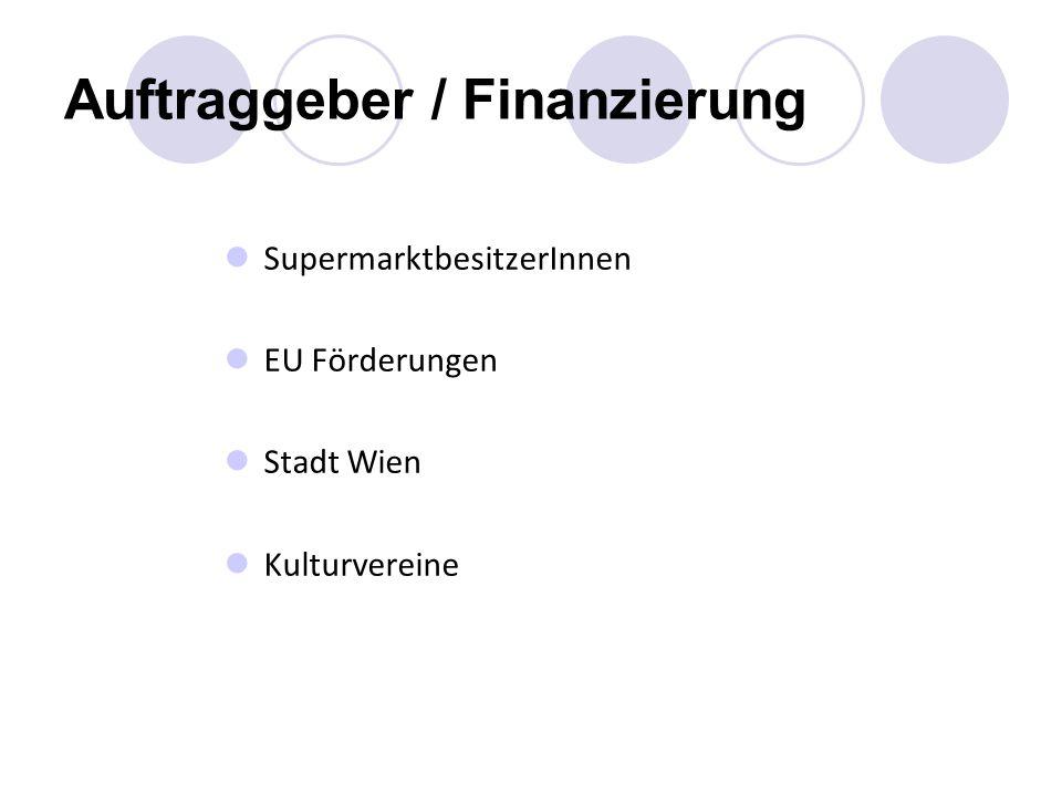 Auftraggeber / Finanzierung SupermarktbesitzerInnen EU Förderungen Stadt Wien Kulturvereine