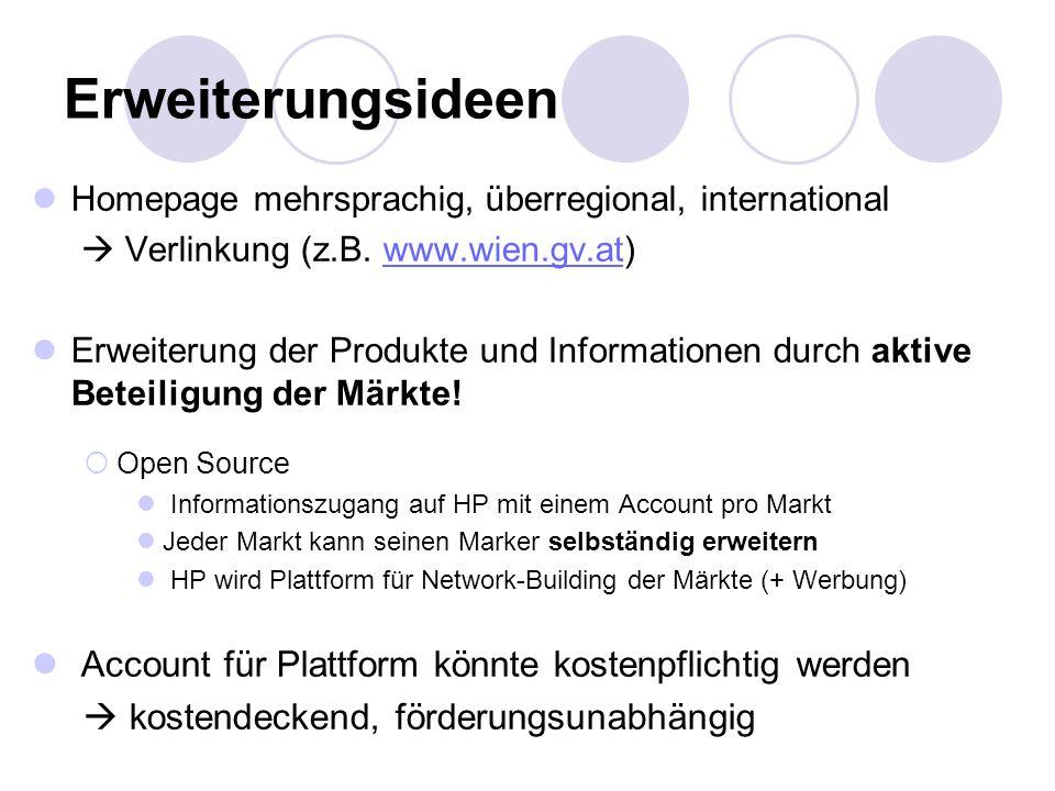 Erweiterungsideen Homepage mehrsprachig, überregional, international  Verlinkung (z.B. www.wien.gv.at)www.wien.gv.at Erweiterung der Produkte und Inf