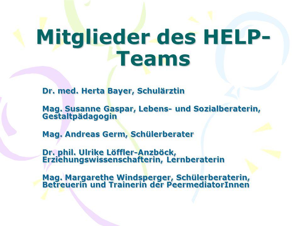 Dr. med. Herta Bayer, Schulärztin Mag. Susanne Gaspar, Lebens- und Sozialberaterin, Gestaltpädagogin Mag. Andreas Germ, Schülerberater Dr. phil. Ulrik