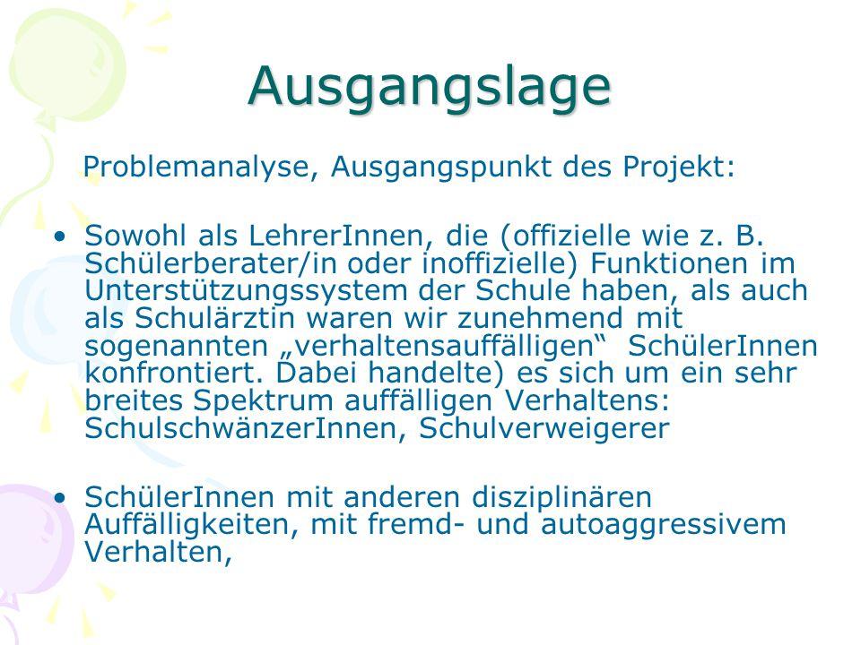 Ausgangslage Problemanalyse, Ausgangspunkt des Projekt: Sowohl als LehrerInnen, die (offizielle wie z. B. Schülerberater/in oder inoffizielle) Funktio