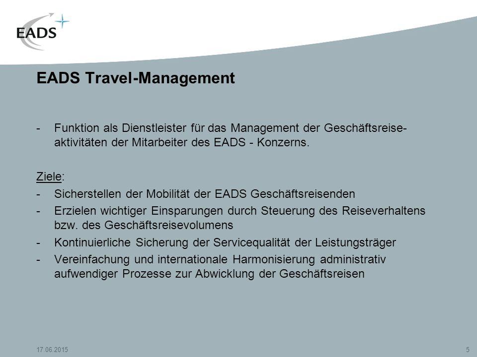 17.06.20155 EADS Travel-Management -Funktion als Dienstleister für das Management der Geschäftsreise- aktivitäten der Mitarbeiter des EADS - Konzerns.