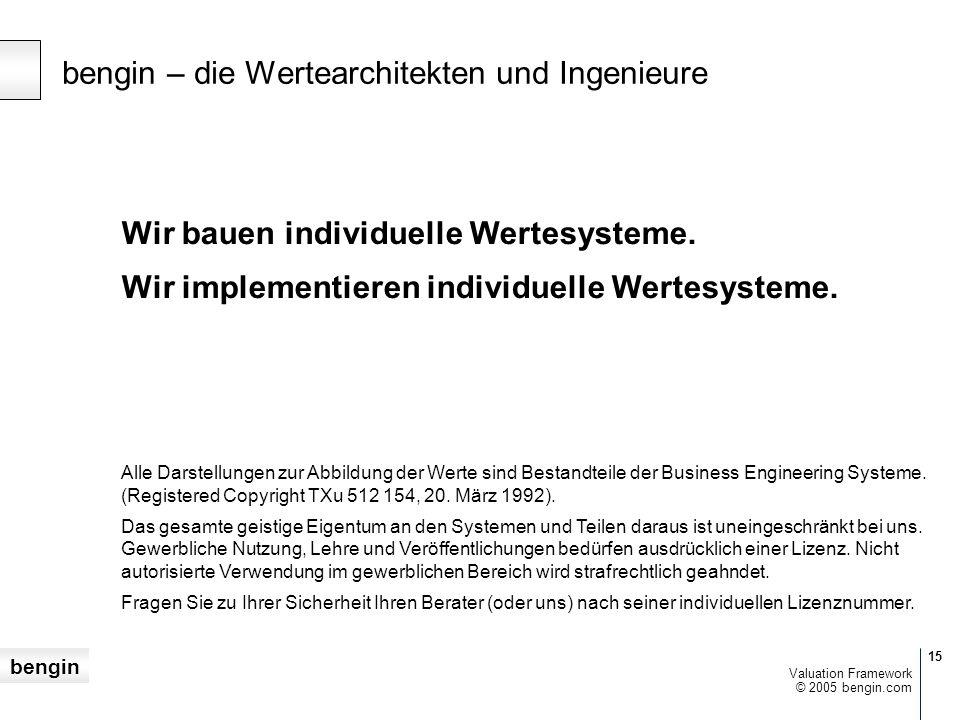 bengin 15 © 2005 bengin.com Valuation Framework Wir bauen individuelle Wertesysteme.
