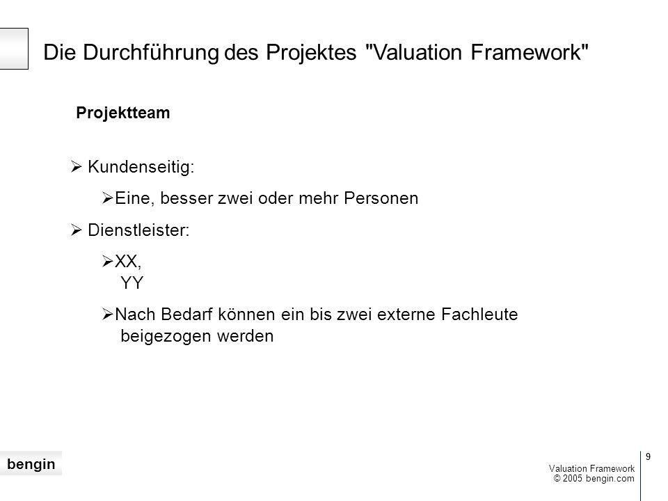 bengin 9 © 2005 bengin.com Valuation Framework Projektteam  Kundenseitig:  Eine, besser zwei oder mehr Personen  Dienstleister:  XX, YY  Nach Bedarf können ein bis zwei externe Fachleute beigezogen werden Die Durchführung des Projektes Valuation Framework
