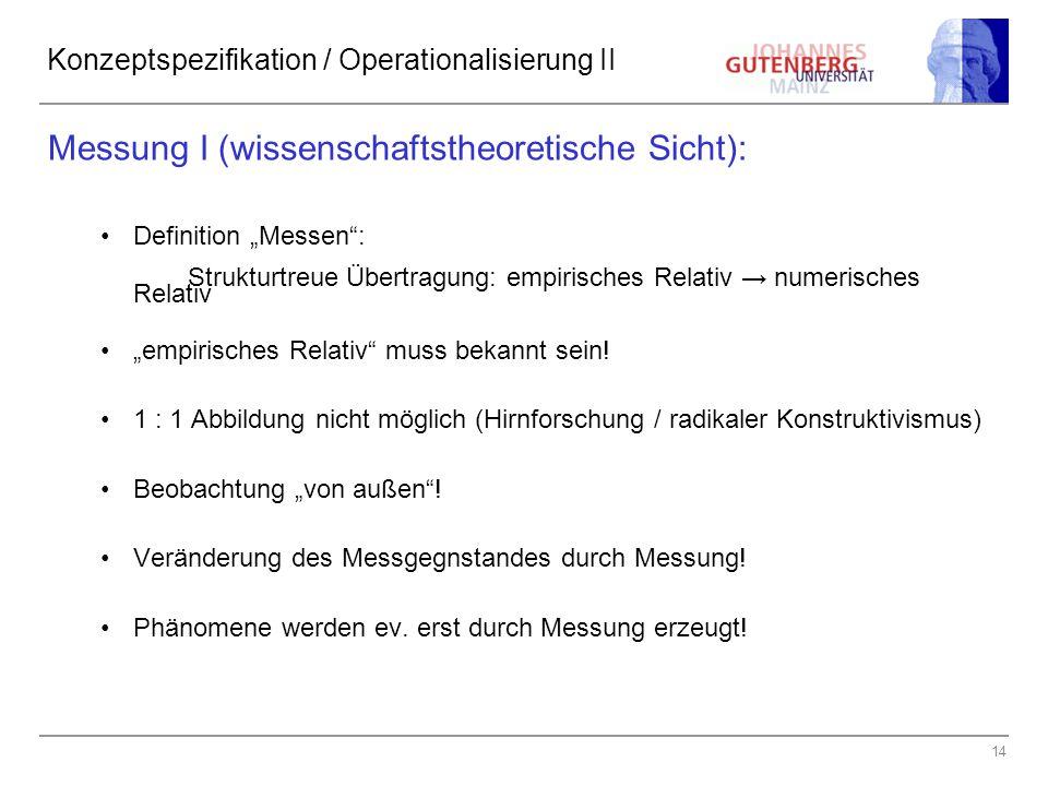 """14 Konzeptspezifikation / Operationalisierung II Messung I (wissenschaftstheoretische Sicht): Definition """"Messen"""": Strukturtreue Übertragung: empirisc"""