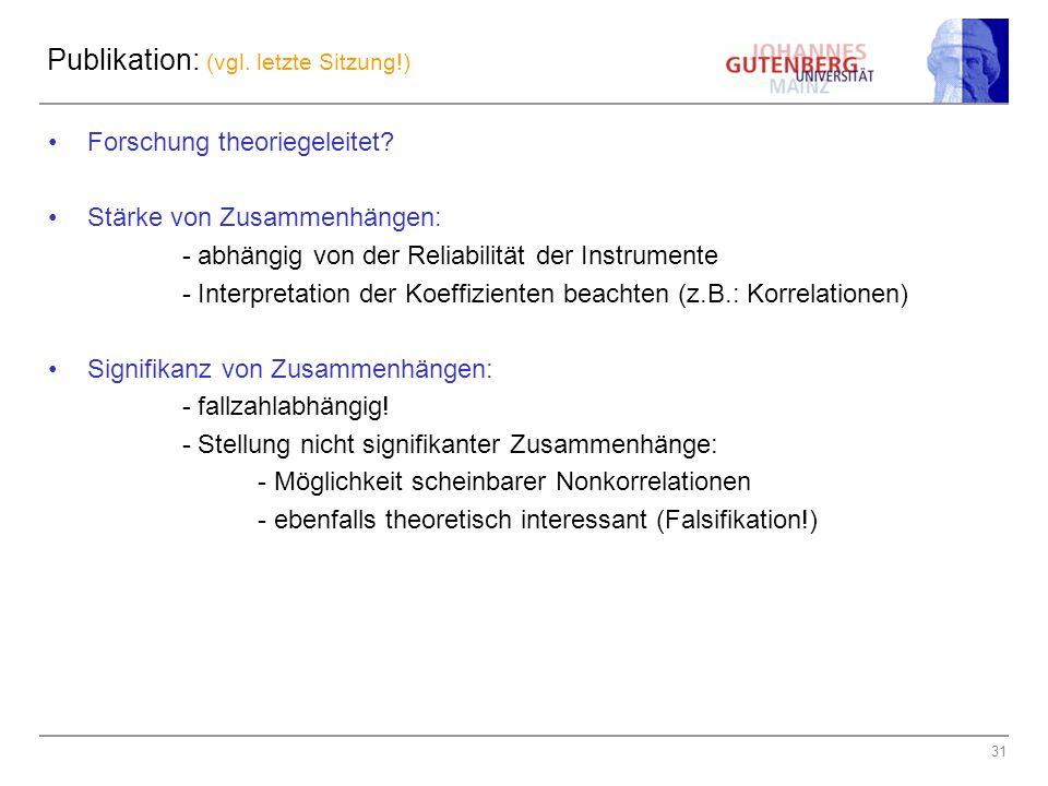 31 Publikation: (vgl. letzte Sitzung!) Forschung theoriegeleitet? Stärke von Zusammenhängen: - abhängig von der Reliabilität der Instrumente - Interpr