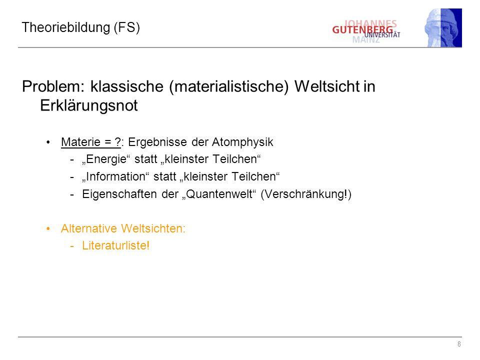 """8 Theoriebildung (FS) Problem: klassische (materialistische) Weltsicht in Erklärungsnot Materie = ?: Ergebnisse der Atomphysik -""""Energie"""" statt """"klein"""