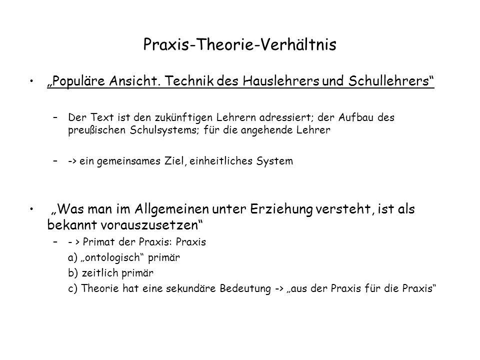 """Praxis-Theorie-Verhältnis """"Populäre Ansicht. Technik des Hauslehrers und Schullehrers"""" –Der Text ist den zukünftigen Lehrern adressiert; der Aufbau de"""