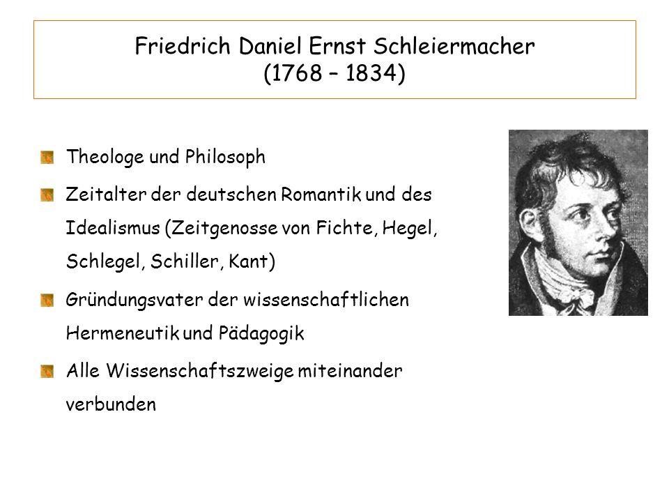 Friedrich Daniel Ernst Schleiermacher (1768 – 1834) Theologe und Philosoph Zeitalter der deutschen Romantik und des Idealismus (Zeitgenosse von Fichte
