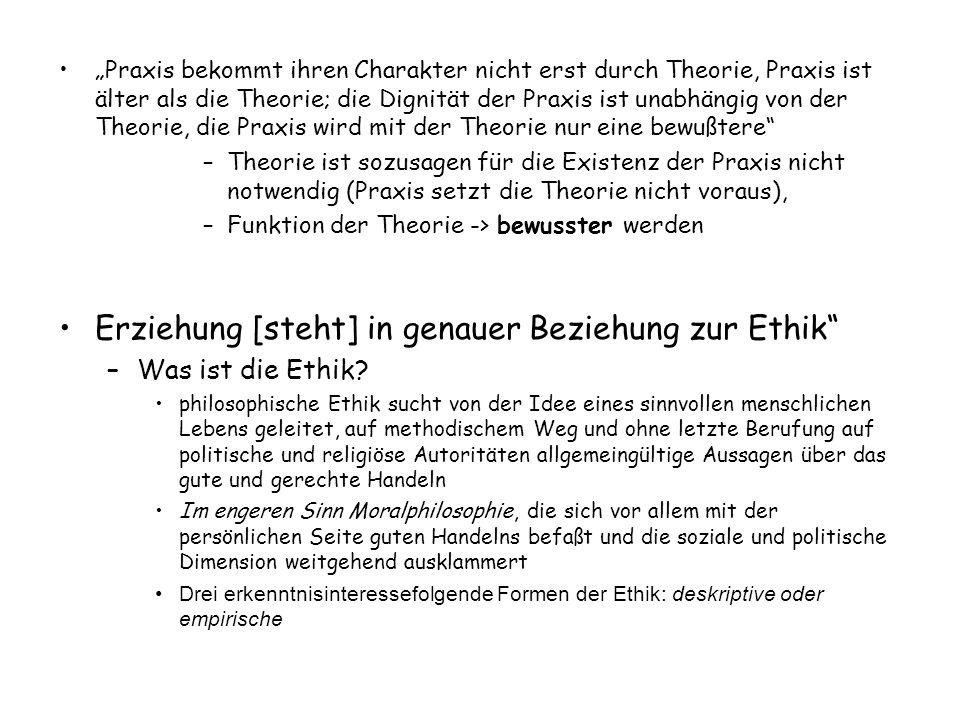 """""""Praxis bekommt ihren Charakter nicht erst durch Theorie, Praxis ist älter als die Theorie; die Dignität der Praxis ist unabhängig von der Theorie, di"""