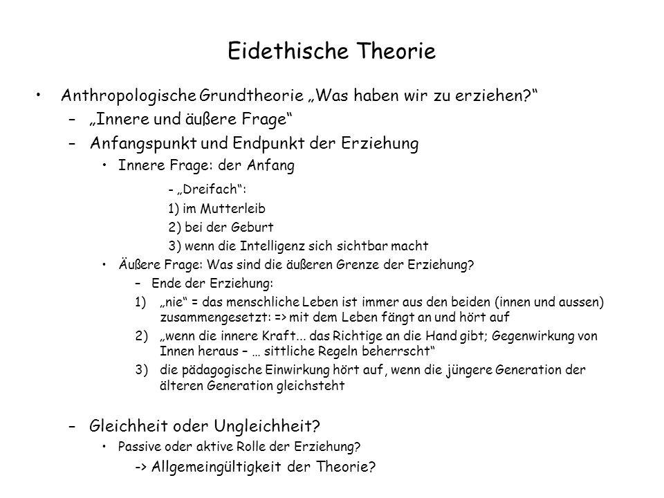 """Eidethische Theorie Anthropologische Grundtheorie """"Was haben wir zu erziehen?"""" –""""Innere und äußere Frage"""" –Anfangspunkt und Endpunkt der Erziehung Inn"""