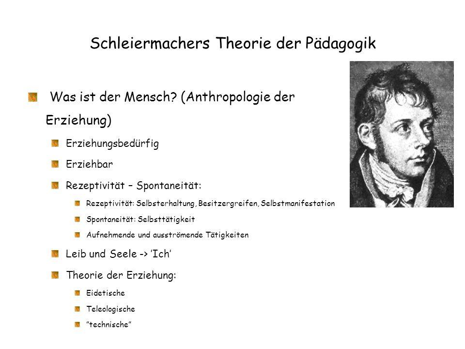 Schleiermachers Theorie der Pädagogik Was ist der Mensch? (Anthropologie der Erziehung) Erziehungsbedürfig Erziehbar Rezeptivität – Spontaneität: Reze